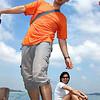Sam & Chiaw Gek.  On a bum boat to Pengarang.  Malaysia.
