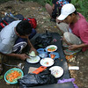 Porters preparing our lunch.  Mount Rinjani, Lombok, Indonesia.
