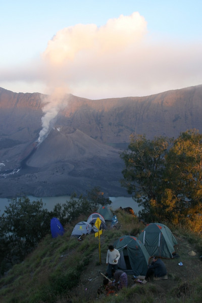 Our campsite.  The little blue tent is the bathroom. =)  Mount Rinjani, Lombok, Indonesia.