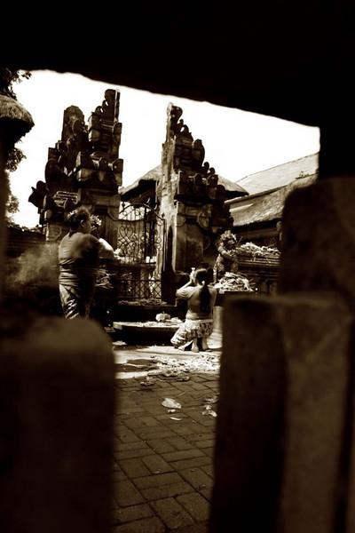 Prayers at Ubud market temple. Bali, Indonesia.