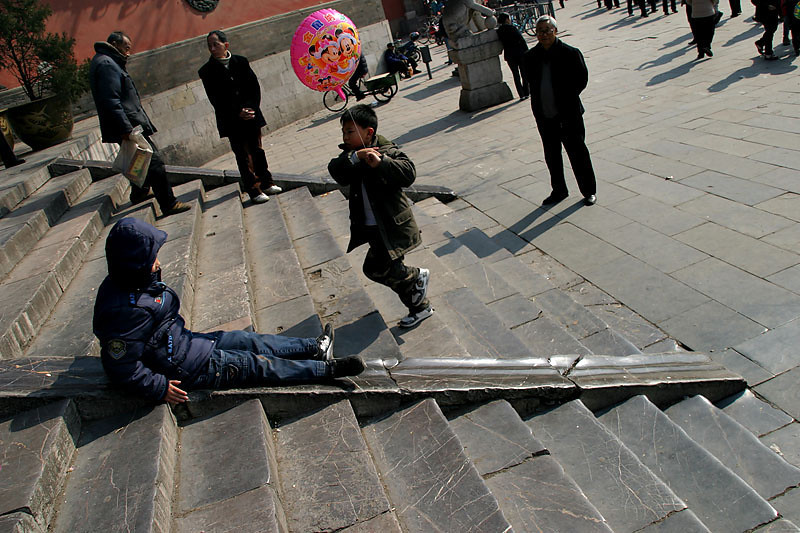 A slide for generations at the steps of Ru Xing Men.  Nanjing, China.