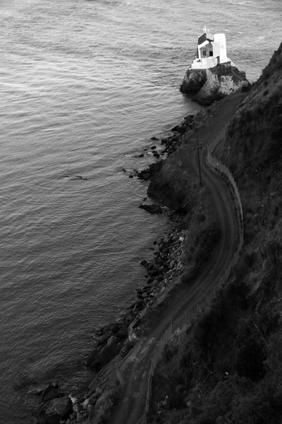 A lonely road leading to a disused house.  Golden Gate Bridge, San Francisco.