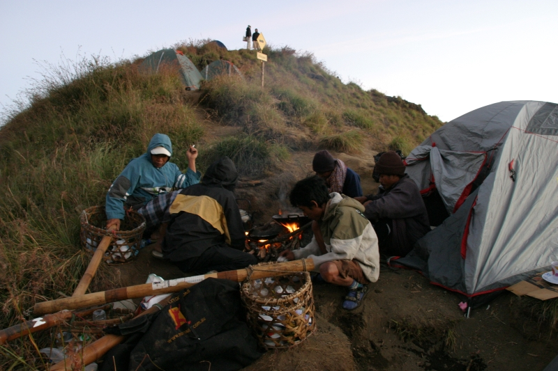 Our porters preparing breakfast.  Mount Rinjani, Lombok, Indonesia.