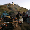Our porters preparing breakfast.  Mount Rinjani, Lombok, Indonesia.