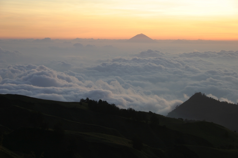 From the crater rim, we could see another mountain.  It could be Bali.  Mount Rinjani, Lombok, Indonesia.
