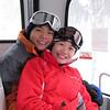 Taking the gondola to the top of Niseko.
