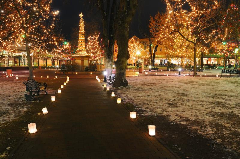 Lighting of the Luminarias at Santa Fe's Old Town Square