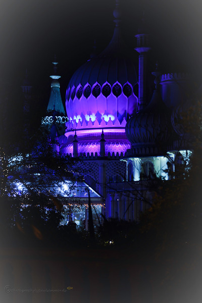 Brighton Dome at night one Christmas evening.  I love the way the Dome is lit in purple