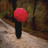 Walk in the Woods with Red Umbrella