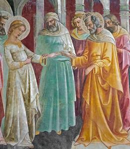 Lorenzo Monaco: Sposalizio della Vergine (closeup, ca 1420)