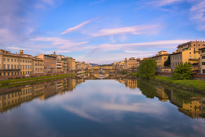 Ponte Santa Trinità and (further on) Ponte Vecchio seen from the Ponte alla Carraia, Firenze, Italy 2014