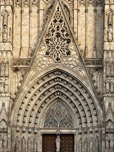 Catedral de la Santa Creu i Santa Eulàlia (Barcelona Cathedral), Main Facade, Barcelona, Spain 2015