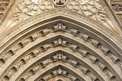 Catedral de la Santa Creu i Santa Eulàlia (Barcelona Cathedral),  Main Facade Door Arc, Barcelona, Spain 2015