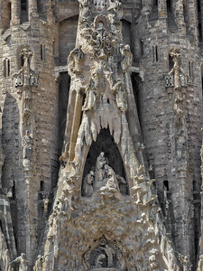 Antoni Gaudí's Basilica of the Sagrada Familia, Nativity Facade, Barcelona, Spain 2015