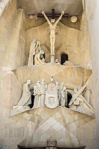 Antoni Gaudí's Basilica of the Sagrada Familia,  Passion Facade, Barcelona, Spain 2015