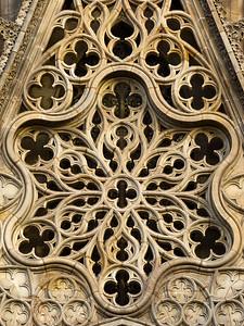 Catedral de la Santa Creu i Santa Eulàlia (Barcelona Cathedral), Main Facade Rose Window, Barcelona, Spain 2015