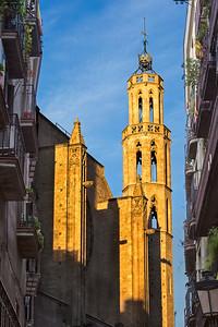 Basilica Santa Maria del Mar, West Facade Tower, Barcelona, Spain 2015