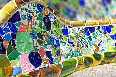 Antoni Gaudí's Park Güell, Square bench, Barcelona, Spain 2015