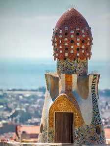 Antoni Gaudí's Park Güell, Pavillon Roof chimney, Barcelona, Spain 2015