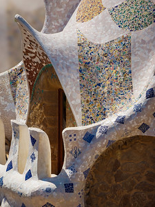 Antoni Gaudí's Park Güell, Pavillon Roof fragment, Barcelona, Spain 2015