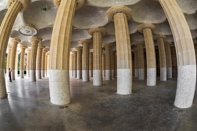 Antoni Gaudí's Park Güell, Colonnade supporting the Square, Barcelona, Spain 2015