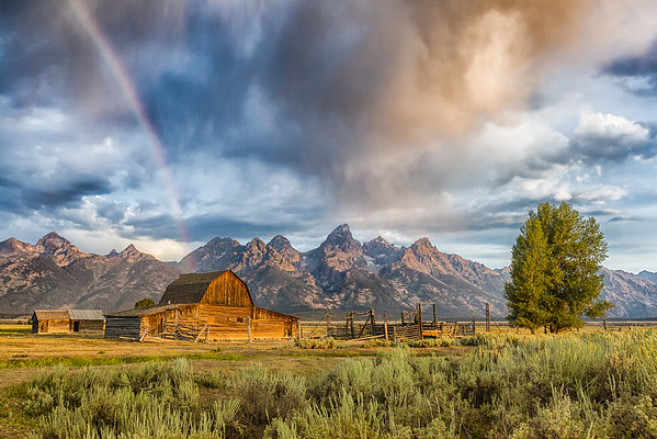 """Rainbow on Moulton Barn"" (digital photograph) by Andres Leon"