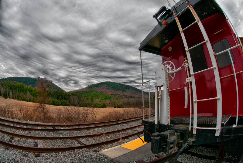 """""""Rail Car and Sky"""" (photography) by Chip Perone"""