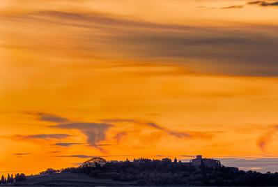 Evening sky over Castello di Cosona