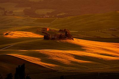 Fields near Montichiello, Val d'Orcia, Tuscany, Italy 2018