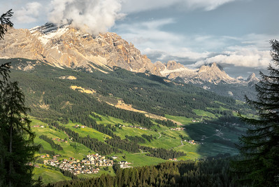 View from Pescol on San Leonardo in Badia and mountains to the East, Dolomiti, Italy 2018