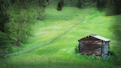 A hut by a fence