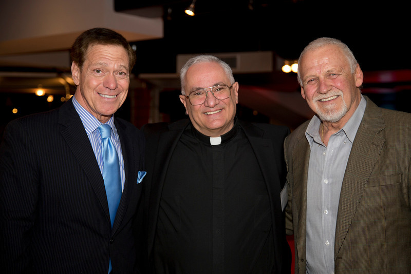 Joe Piscopo, Rev. Domenic Rossi and Bernie Parent