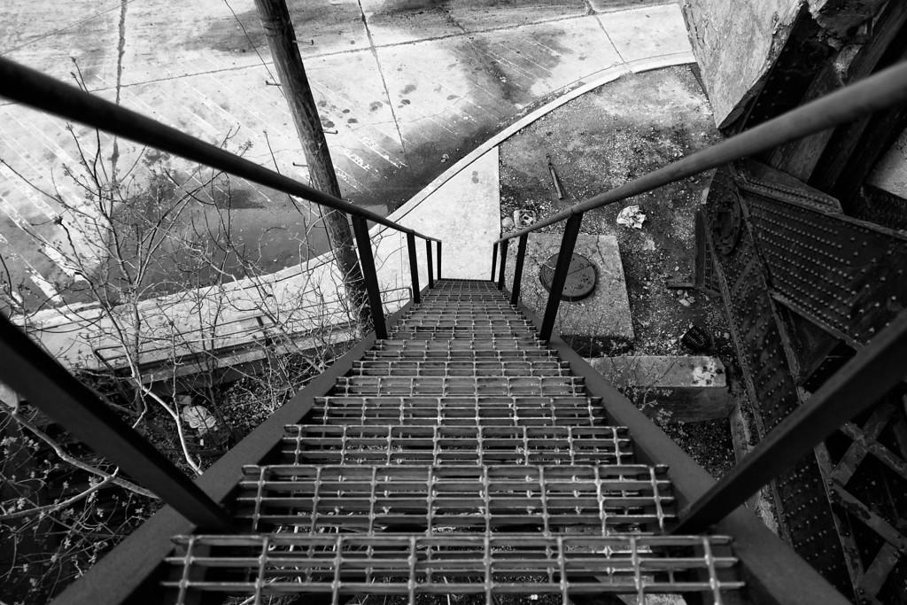 Downward Industrial Stairwell