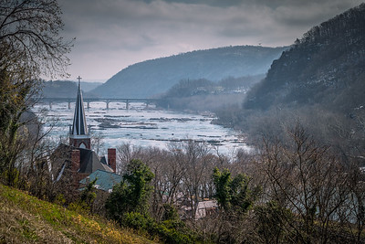 Harper's Ferry WV - View from Jefferson Rock toward the Potomac River.