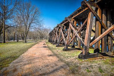 Harper's Ferry WV - Wooden Train Trestle between Shenandoah Street and the Shenandoah River to the left.