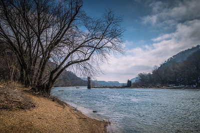 Harper's Ferry WV - Shenandoah River Bridge Ruins. Maryland Heights (left) and Loudoun Heights (right).
