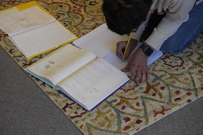 Krishav working on saxon math in upper el room