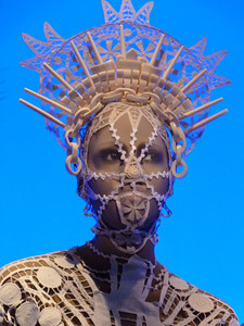 Gaultier partnered with the Montreal-based theater company Ubu Compagnie de Création in the design of 30 animated mannequins who talk and sing in playful and poetic vignettes.