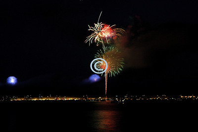 A little of this, A little of that.  Sausalito & San Francisco Fireworks at the same time.