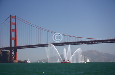 The Fireboat Phoenix begins the Parade