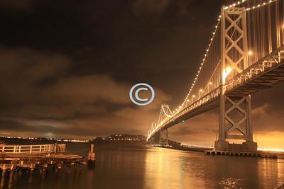 Glowing San Francisco Bay Bridge