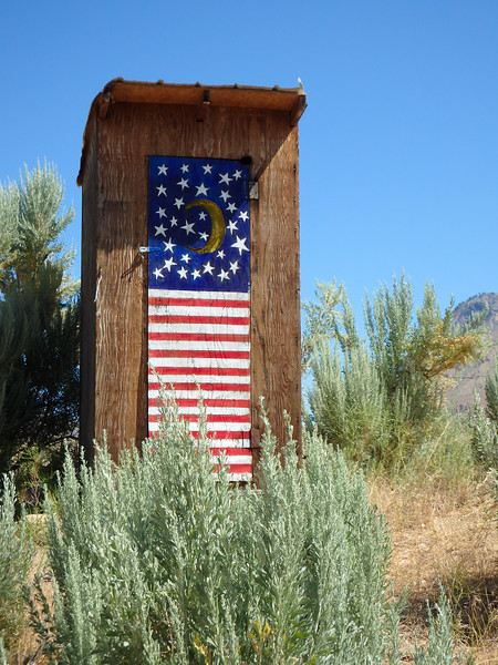 Patriotic Outhouse on the Middle Fork of the Salmon River