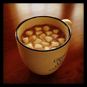 Hot chocolate on a cold winter day.