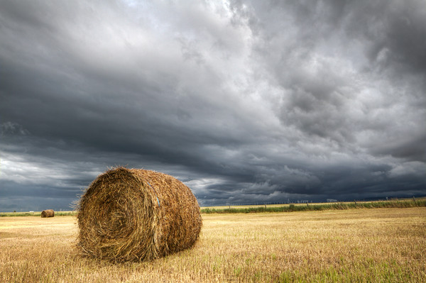 """""""Bale Under the Storm""""<br /> Southern Alberta, Canada<br /> July 2016"""