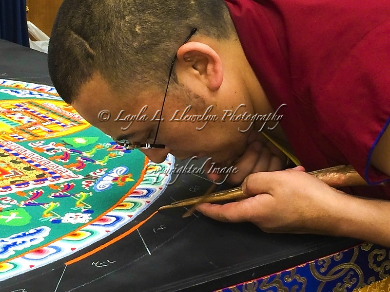 Day 85 (Photo 2 of 2) I was blessed to be able to see this incredible work of art being created by Tibetan Monks: Sand Mandala