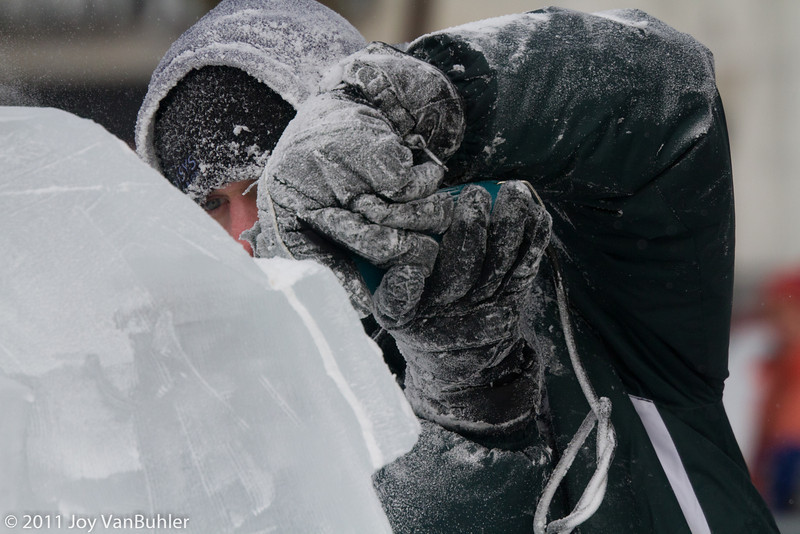 1/22/11 - A competitor in an ice sculpting competition