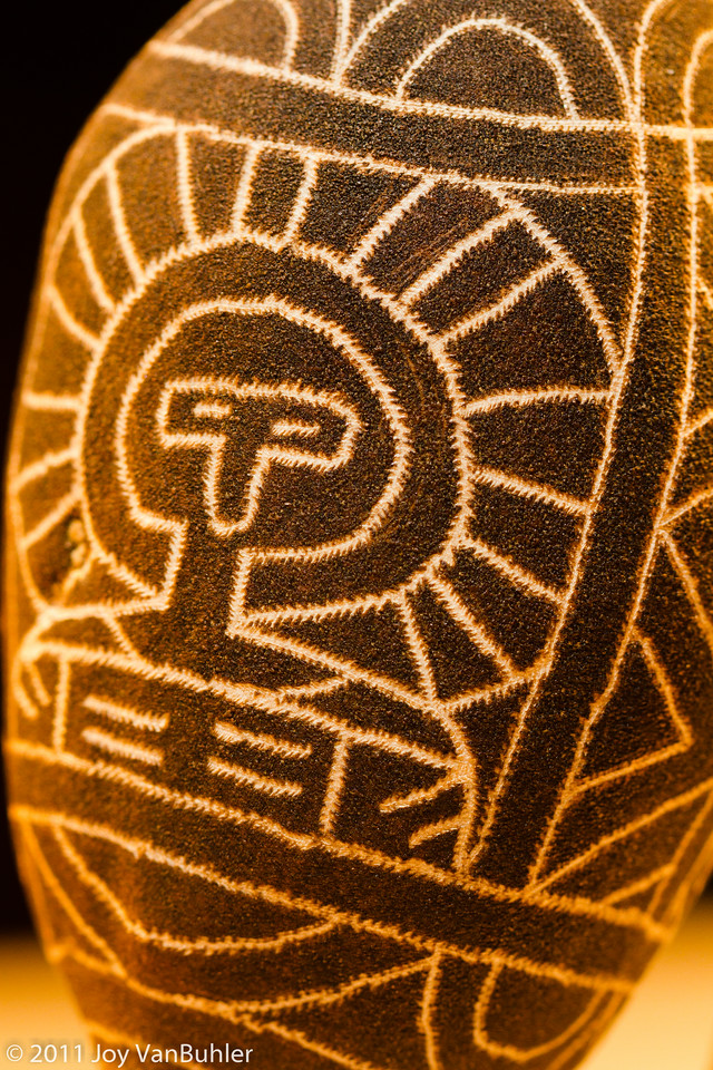 11/28/11 - I was lacking a little bit of inspiration today, so I decided to look around my house for something interesting to photograph.  I settled on something that I find interesting.  It is a hand-carved Australian bottle tree pod that I got on a trip to Australia. The guy that I was working with carved it while we were at work one day.
