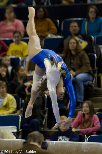 3/4/11 - Went to the Michigan women's gymnastics event again this weekend.  I used a faster lens than last week with the hope that it would be easier.  I was able to really shorten the shutter speed without a huge loss of quality.