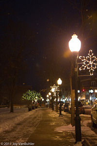 1/15/11  - Stopped in downtown plymouth on my way home night.  The lights and the snow made for a pretty scene