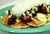 Photo of West Beach Grille's Topped Pancakes - one of the restaurant's signature breakfast dishes.  3-8-10 to 3-10-10